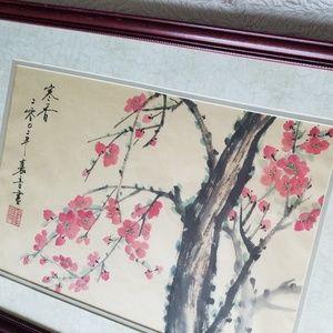Original Japanese Vintage Cherry Blossom Water Col